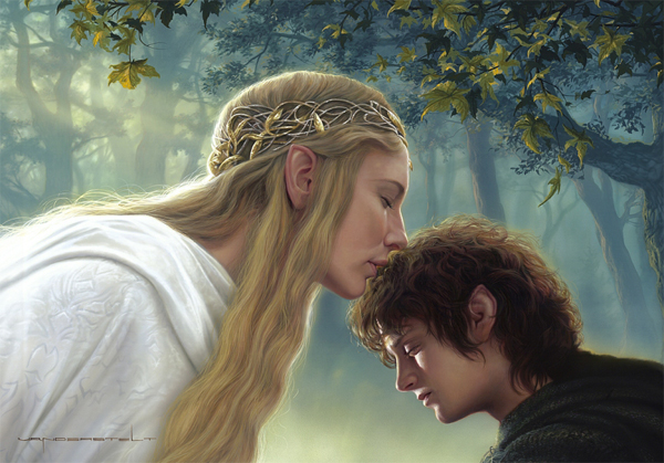 Galadriel and Frodo - THE LORD OF THE RINGS: © NLP ™ Middle-earth Ent. Lic. to New Line. (s13) stated