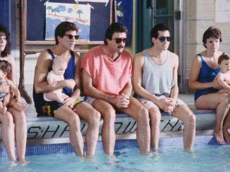 Everyone loves it when their dad takes them to the pool.