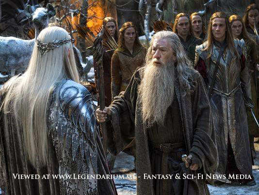 """IAN McKELLEN as Gandalf and LEE PACE as Thranduil in the fantasy adventure """"THE HOBBIT: THE BATTLE OF THE FIVE ARMIES,"""" a production of New Line Cinema and Metro-Goldwyn-Mayer Pictures (MGM), released by Warner Bros. Pictures and MGM. Photo by Mark Pokorny"""
