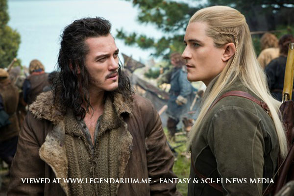 """LUKE EVANS as Bard and ORLANDO BLOOM as Legolas in the fantasy adventure """"THE HOBBIT: THE BATTLE OF THE FIVE ARMIES,"""" a production of New Line Cinema and Metro-Goldwyn-Mayer Pictures (MGM), released by Warner Bros. Pictures and MGM. Photo by Mark Pokorny"""